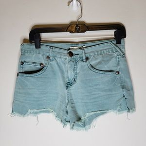 Free People Turquoise Cut Off Denim Shorts